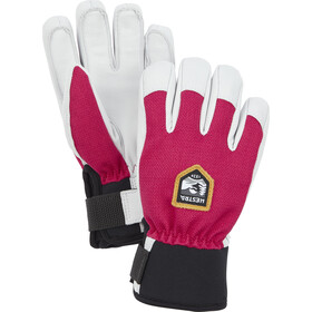 Hestra Army Leather Patrol 5 fingerhandsker Børn, hvid/pink
